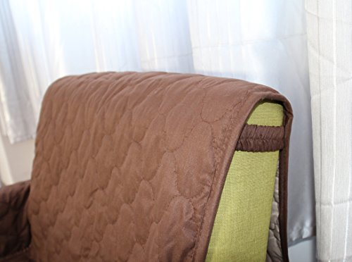 "Dormire Reversible Quilted Furniture Protector with Elastic Strap for Chair - Machine Washable - 70"" X 65"" - Chocolate / Beige"
