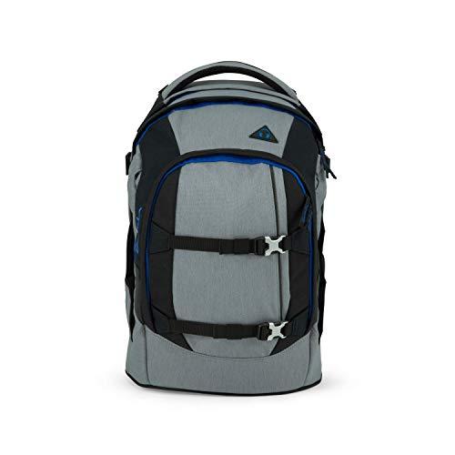 satch Pack Grey Ray, ergonomischer Schulrucksack, 30 Liter, Organisationstalent, Grau/Schwarz/Blau