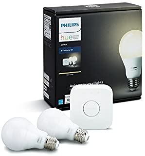 Philips Hue White A19 60W Equivalent Dimmable LED Smart Bulb Starter Kit (2 A19 60W White Bulbs and 1 Hub Compatible with ...