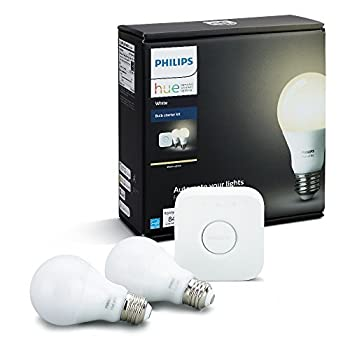 Philips Hue White A19 60W Equivalent Dimmable LED Smart Light Bulb Starter Kit 2 A19 60W White Bulbs and 1 Bridge Works with Alexa Apple HomeKit and Google Assistant  California Residents