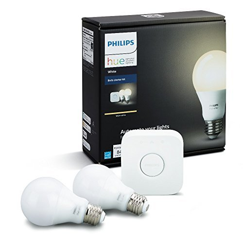 Philips Hue White A19 60W Equivalent Dimmable LED Smart Bulb Starter Kit (2 A19 60W White Bulbs and...