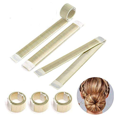 Ealicere 3 Stücke Donut Hair Bun Maker, Magic Twist Donut French Band für Damen DIY Hairstyle Tools(Champagne)
