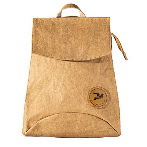 PAPERO ® 3 in 1 Rucksack aus Kraft Papier - wasserfest & robust kleiner Daypack, Umhängetasche, Messenger o. Handtasche & veganem Leder - für Alltag & Einkaufen | nachhaltig