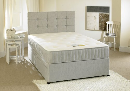 Happy Beds Contour Divan Bed Set With Spring Memory Foam Mattress 2 Drawers One Per Side Headboard 5' King Size 150 x 200 cm