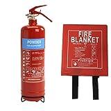 1kg ABC Dry Powder & 1.1m x 1.1m Hard Case Fire Blanket