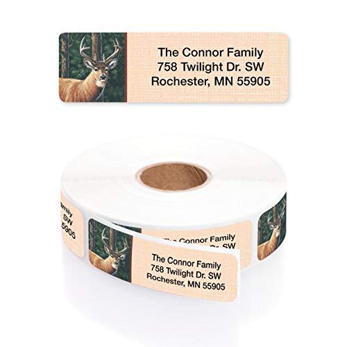 Deer Designer Rolled Address Labels with Elegant Plastic Dispenser