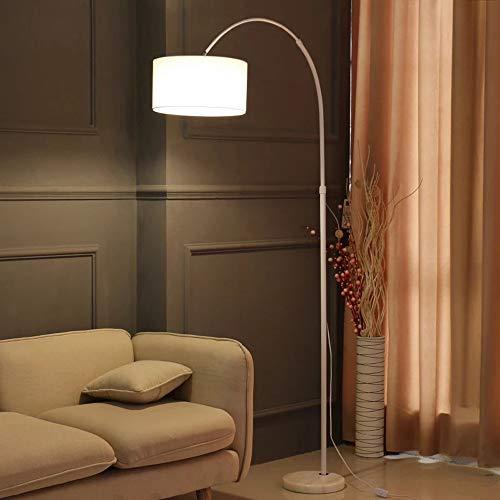 QJUZO Stehlampe Dimmbar Fernbedienung, Bogenlampe mit Stehleuchte Marmorfuß und Textilschirm lampenschirm, Standleuchte für Wohnzimmer, Schlafzimmer, Arbeitszimmer, Büro,Weiß