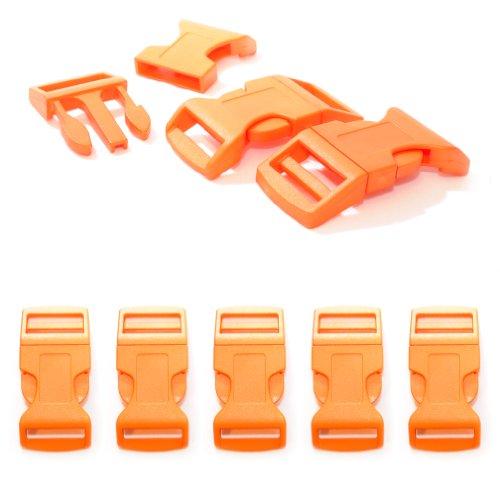 """Fermoir à clip en plastique, idéal pour les paracordes (bracelet, collier pour chien, etc), boucle, attache à clipser, grandeur: XL, 1"""", 65mm x 32mm, couleur: orange, de la marque Ganzoo - lot de 5 fermoirs"""