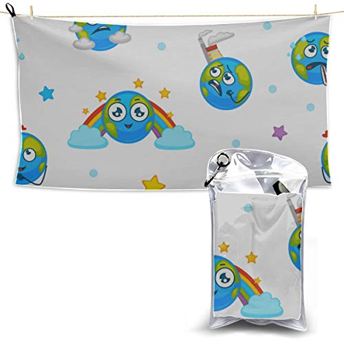 Earth Planet Expressing Emotions Emojis Toallas de playa Deportes Toalla para niños Mejor toalla de playa Baby Girl Toalla de playa 27.5 '' X 51 '' (70 X 130cm) mejor Para gimnasio Campamento de via