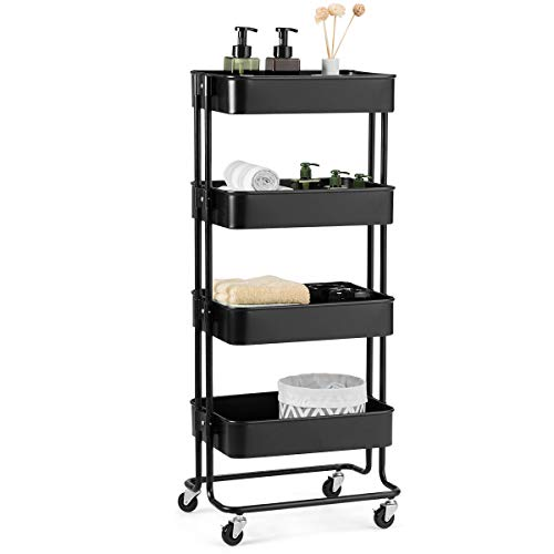 Giantex Rolling Utility Cart Mobile Storage Organizer Multifunctional Home Office Storage Trolley Serving Cart w/Metal Mesh Shelves Lockable Wheels (Black, 4-Tier)
