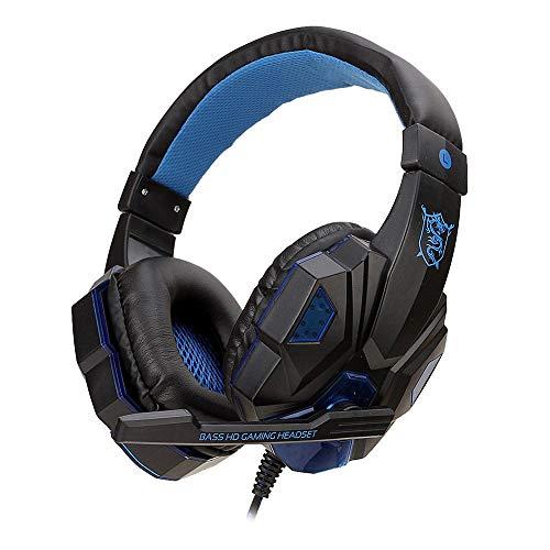 Auricular para videojuegos con micrófono, auriculares estéreo con volumen ajustable, graves profundos para Ps4 Switch Laptop Gamers