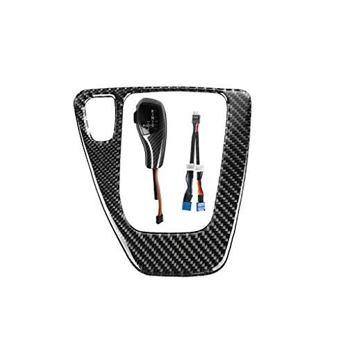 LED Gear Shift Knob with Trim Gear Cover Knob, Automatic Stick Shift Knob LED Carbon Fiber Gear Car Shift Head Knob Shift Lever Fit for BMW E90 E91 E92 E93 E84 X1 E81 E87 E89 Z4