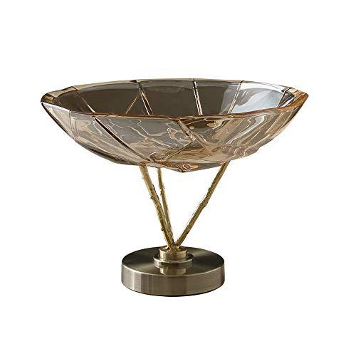GYFHMY Disco de Cristal, Base de Metal Antiguo Desmontable, frutero Minimalista Creativo, Utilizado para Bodas, decoración de encimeras para el hogar.