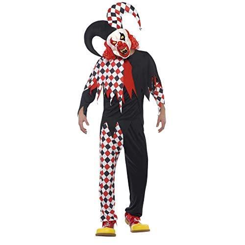 SMIFFYS Costume Crazed Jester, Rosso e nero, con top, pantaloni, maschera in lattice e c