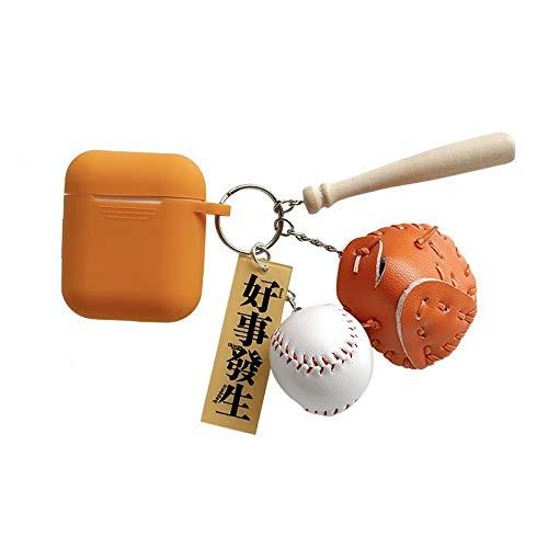 MtniAY Home Niedlichen Baseball-Anhänger Fall für Airpods Fall Apple Wireless Bluetooth Headset Schlüsselbund Silikonhülle