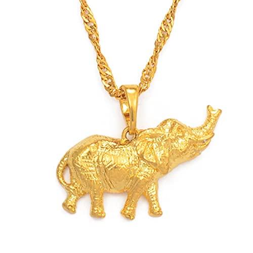 Collares con colgante de elefante pequeño de color dorado para mujer, cadenas de joyería de animales con encanto
