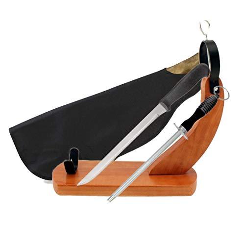 BlendNature Jamonero Tabla Soporte Gondola + Cuchillo de Corte + Chaira + Cubre Jamon + Economico