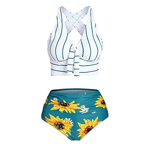 GPQHSM Bikini Las Mujeres Atractivo Caliente del Traje de baño Push-up con Relleno Traje de baño más del tamaño de superposición de Girasol Rayada Imprimir Bikini de Dos Piezas Traje de baño