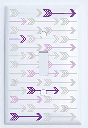 Single Toggle Purple and Grey Arrow Print Pattern Light Switch Plate Cover/Arrows Woodland Forest Nursery Wall Decor for Baby (Single Toggle Switch Plate Cover)