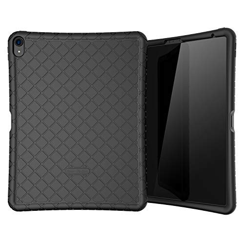 Bear Motion Silicon Case for iPad Pro 12.9 2018 Shockproof Silicone Protective Cover (Does NOT Support Apple Pencil 2 Charging) (iPad Pro 12.9 2018, Black) Note This Item ONLY Works with 2018 Version