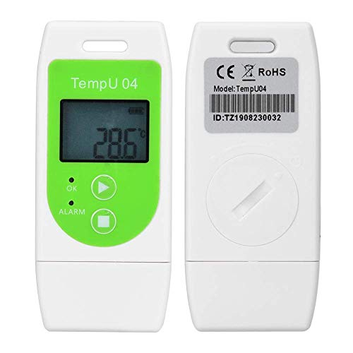 Focket Registrador de Datos de Temperatura, PDF USB 12000 Puntos LCD Reutilizable IP65 Termómetro Prueba Agua Registrador Datos Registrador Datos Registrador Indicador para Cadena Frío etc(Tem