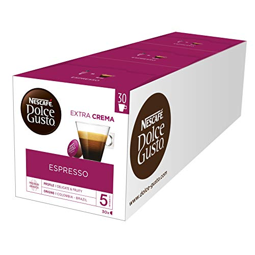 NESCAFÉ Dolce Gusto Espresso, XXL-Vorratsbox, 90 Kaffeekapseln, 100% edle Arabica Bohnen, Charaktervoller Espresso, Fruchtige Granatapfelnot, Aromaversiegelte Kapseln, 3er Pack (3 x 30 Kapseln)