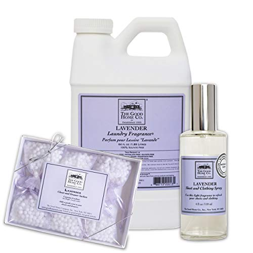 The Good Home Fragrance Fabric Softener 64 Oz, Sheet and Clothing Linen Spray 4 Oz, Closet and Drawers Sachets 0.5 Oz Lavender, Improves Sleep, Refreshes Clothes and Linen All-Natural Freshener