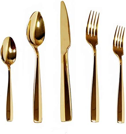 KND Gold Silverware Set 20 Piece Flatware Stainless Steel Cutlery Set Service for 4 Include product image