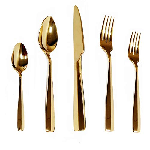 KND Gold Silverware Set, 20-Piece Flatware Stainless Steel Cutlery Set Service for 4 Include Knife/Fork/Spoon, Mirror Polished, Fit for Home/Hotel/Restaurant Dishwasher Safe