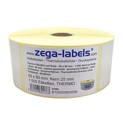 Thermo Etiketten auf Rolle - 50 x 80 mm - 1.000 Stück je Rolle - Kern: 25 mm - aussen gewickelt - permanent haftend - Druckverfahren: Thermodirekt (Drucken ohne Farbband)