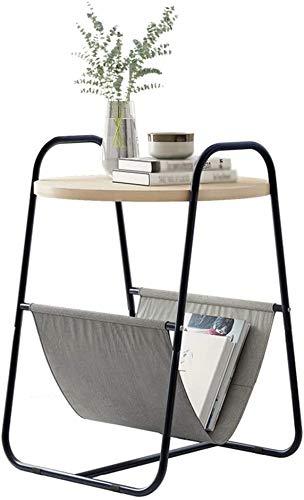 BUSUANZI Modern Minimalist Fin-Table Nightstands, Mesa de café pequeño, 2 Niveles Mesa Final de Sala de Estar para Dormitorio Redondo Sofá Mesa Auxiliar