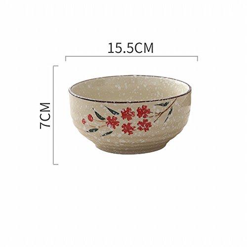 Style Japonais Peint à la Main Ménage Grand Bol en Céramique Nouilles Instantanées Bol Bol à Soupe Créatif Ramen Bol Manger Nouilles Bol Bol à Salade de Fruits,UNE
