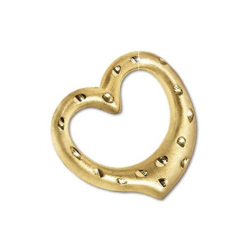Clever Schmuck Gouden dames hart hanger klein vrij schommelend gouden hart 12 mm open 12 mm plastic vorm zijdemat met aardbeimotief diamant glanzend 333 goud 8 karaat