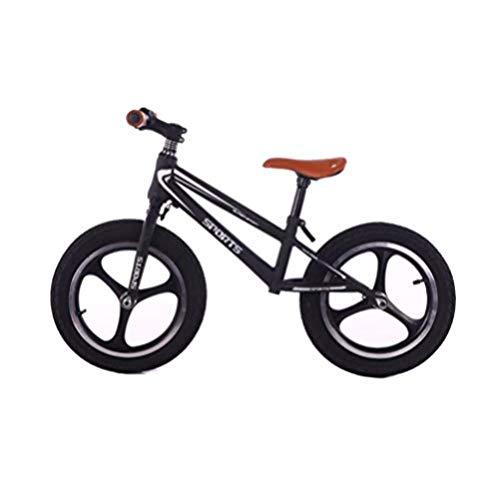 FesiAq Bicicleta de Equilibrio para niños niños de 2 a 9 años Niños y niñas Bicicleta sin Pedales Bicicleta de Entrenamiento Integral para niños @ Black_12inch