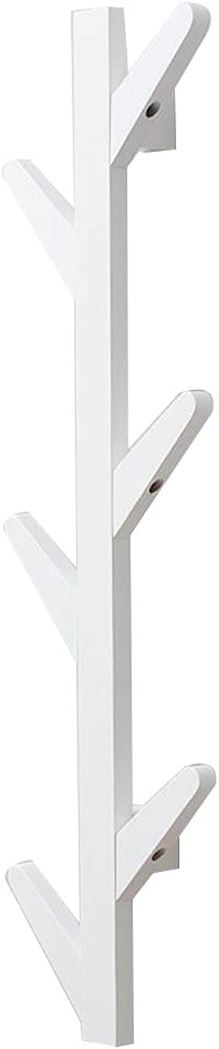 DQMSB Wall-Mounted Coat Rack Hanger Tree Type, Bamboo 3 color 3 Size Coat Racks (color   White, Size   7x25x98cm)