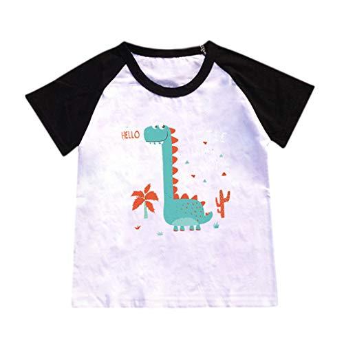 JUTOO Kinderbaby-Karikatur-heiße Art-Dinosaurier-Muster-Buchstabe-Druck-T-Shirt, das Hemd übersteigt (Schwarz 1,XXXL)