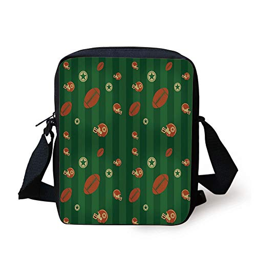 ZKHTO Football,Old Fashioned Composition with Green Stripes Rugby Icons Graphic,Green Hunter Green Cinnamon Print Kids Crossbody Messenger Bag Purse
