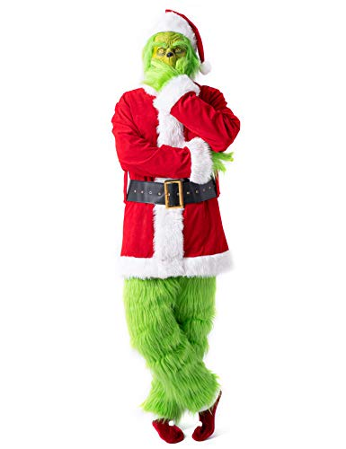 PAFIGA Green Monster Costume for Men 7pcs Christmas Deluxe Furry Adult Santa Suit Green Outfit S