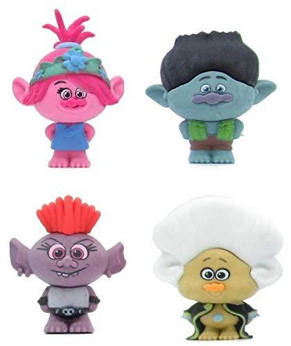 Trolls World Tour 4 Figur Poppy + Trollzart + Branch + Queen Barb 4cm Sammlung Original Puzzle Palz Radiergummis zum Löschen DreamWorks