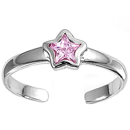 Zehenring aus 925 Sterling Silber als Fußschmuck für Damen, Herren und Mädchen, Größenverstellbar, rosa Zirkonia Stern 3