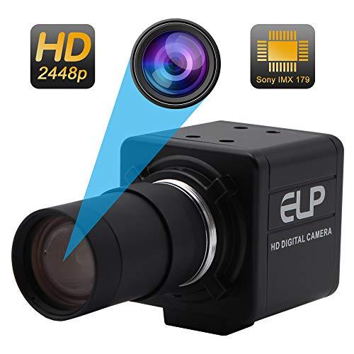 5-50mm Varifocal Lens USB Camera High Definiton 2448P Webcam Sony IMX179 USB with Cameras,Indoor Outdoor Webcamera,8 Megapixel Web Cam USB Home Nanny Pet Webcamera usb for Android Linux Windows