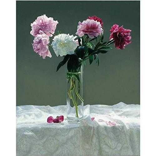 Jwqing vaas bloemen canvas foto's muurkunst stilleven bloemen huis decoratieve afbeeldingen pioenrozen bloemen poster voor de woonkamer (60x80cm zonder lijst)
