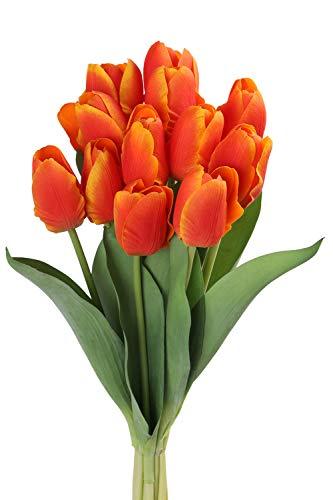 Roqueen 12 Pezzi Tulipani Artificiali Tocco Reale Fiori Finti per Casa Nozze Mazzo Festa Preparativi Ufficio DIY Decorazione (Arancia)