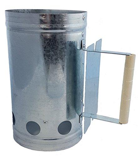 Ciminiera d'accensione in metallo con manico in legno - Ciminiera d'accensione per barbecue con scudo termico -Ciminiera d'accensione per un'accensione rapida