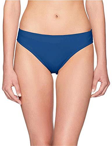 Kenneth Cole REACTION Women's Hipster Bikini Swimsuit Bottom, Marine//Ruffle/Licious, L