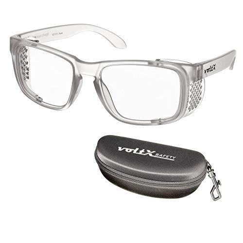 voltX 'CRYSTAL' Vergrotende Veiligheidsleesbril met Volledige Lens CE-gecertificeerd (+3,0 Dioptrie, Doorzichtige Lens) -Anti-Mist Coating UV400-len + Case