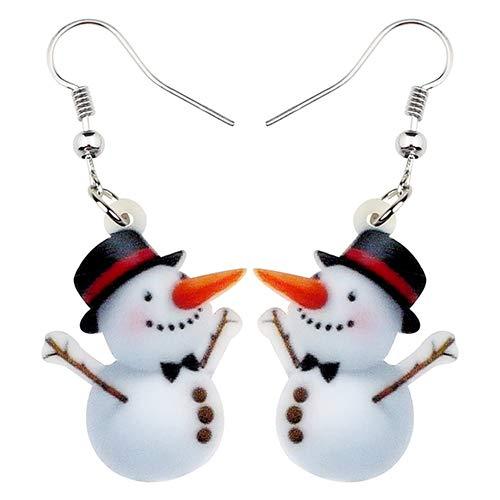 NA - Pendientes de Navidad con diseño de muñeco de nieve