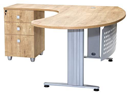 furni24 Schreibtisch Homeoffice Chefschreibtisch Schreibtisch Winkeltisch Gela Eiche Links gewinkelt inkl. Beistellcontainer mit 3 Schubladen