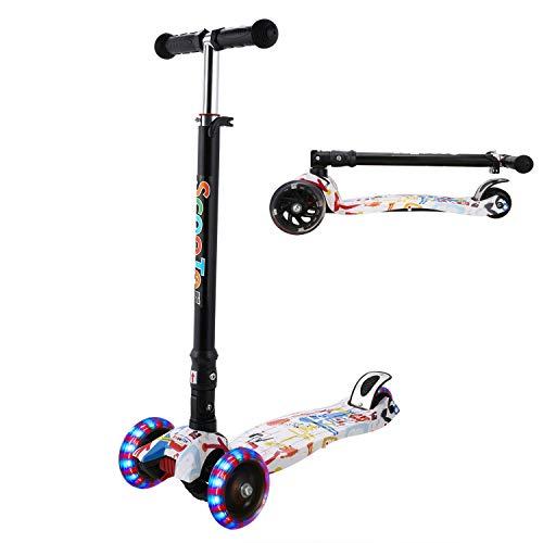 WeSkate Kinderroller Mädchen Jungen Kick Scooter Kinder 3 Rad Roller Kleinkind mit Graffiti Deck Einstellbar Höhe Klappbar faltbar System Roller Dreirad ab 3-12 Jahre (Weiß-Malerei)