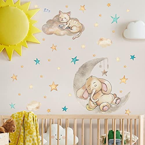 PMSMT Bonito Adhesivo de Pared de Animales de Dibujos Animados para niños, Dormitorio de bebé, Vinilo de Estilo nórdico, Pared Decorativa, Elefante, Gato, Luna, Estrellas, decoración del hogar